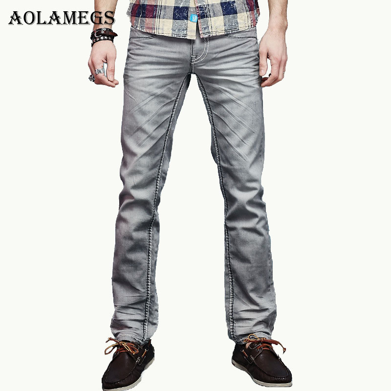 Aolamegs Men Denim Jeans Pants Men' s Vintage Stretch Jeans Trousers Male Gray Korean Cotton Thick Lines Denim Pants New Design