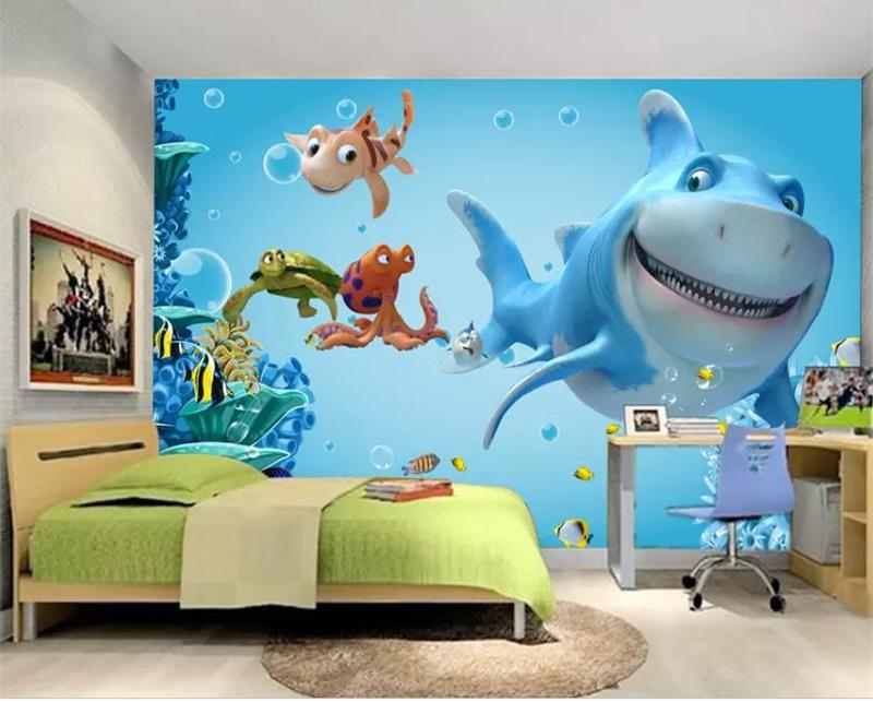 custom size 3d photo wallpaper kids room mural underwater world picture background non-woven wall sticker wallpaper for wall 3d