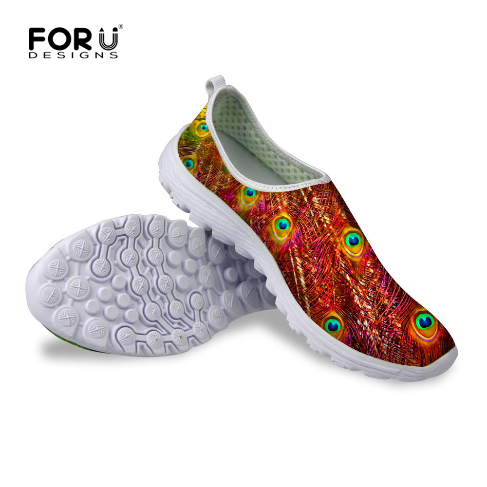 2017 Female Comfortable Footwear Lightweight Women Low Heel Peackock Casual Shoes New Flats Walking Shoes for Teenager Girl