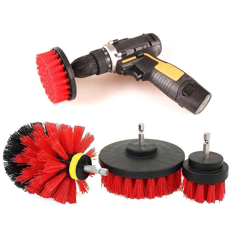 3pcs כוח Scrubber מברשת סט אמבטיה תרגיל Scrubber מברשת לניקוי אלחוטי מצורף תרגיל ערכת כוח לשפשף מברשת אדום
