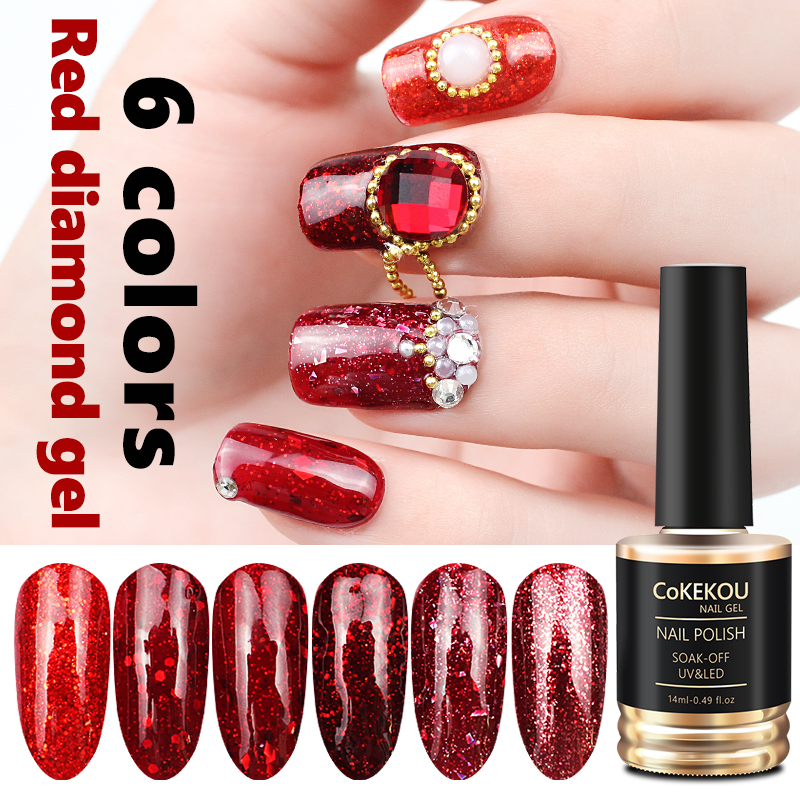 CoKEKOU Hybrid Semi-permanent 3D Christmas bride Red Diamond Nail Gel Varnish Glitter Nail Gel Polish Long Lasting Nail Gel Lak