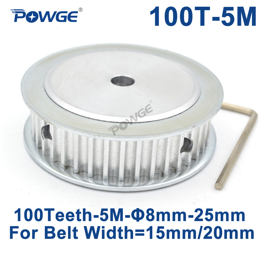 POWGE 100 Teeth HTD 5M Synchronous Timing Pulley Bore 10/12/15/16/17/19/20/25mm for Width 15/20mm HTD5M wheel Gear 100Teeth 100T все цены
