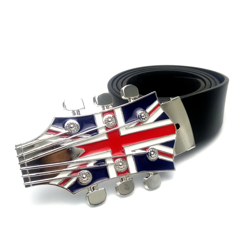 Mens belts for jeans with Music series Union Jack guitar belt buckle metal Black pu Leat ...