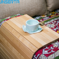 JINSERTA Natural Wood Sofa Tray Table Wheel Folding Sofa Armrest Tray Bamboo Slip Coaster Insulation Pad