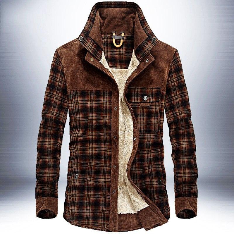 ผู้ชายฤดูหนาวเสื้อแจ็คเก็ตลายสก๊อตคลาสสิกปุ่มแจ็คเก็ตขนแกะหนา Vintage Casual 2019 ใหม่ฤดูหนาวฤดูใบไม้ร่วงแบรนด์ชาย-ใน แจ็กเก็ต จาก เสื้อผ้าผู้ชาย บน   1
