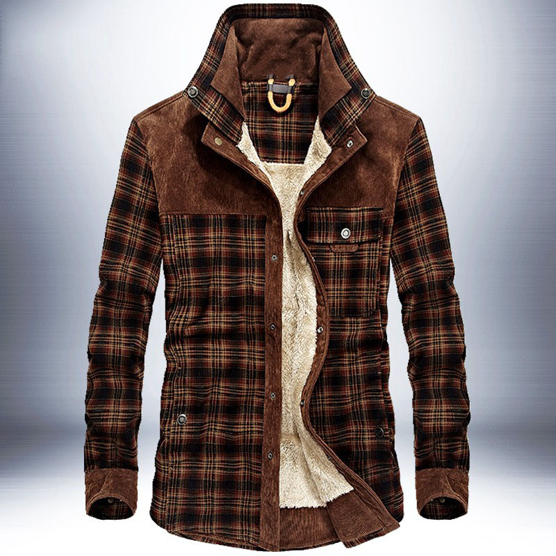 Men Winter Jacket Plaid Classical Button Jackets Thick Fleece Warm Vintage Casual 2019 New Winter Autumn Brand Outerwear Male