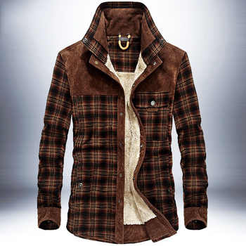 Men Winter Jacket Plaid Classical Button Jackets Thick Fleece Warm Vintage Casual 2019 New Winter Autumn Brand Outerwear Male - DISCOUNT ITEM  40% OFF All Category