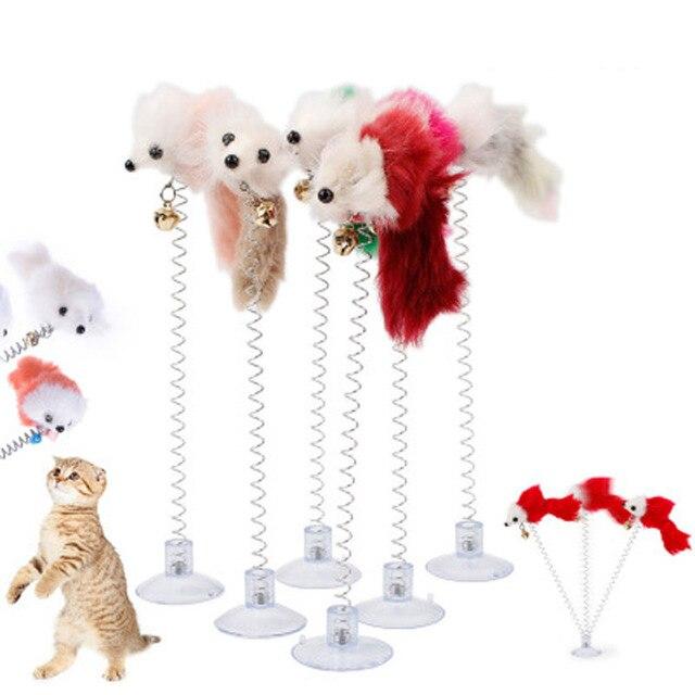 1 pz Colore Casuale Divertente Pet Giocattoli Del Gatto Piuma Ventosa Fondo Gioc