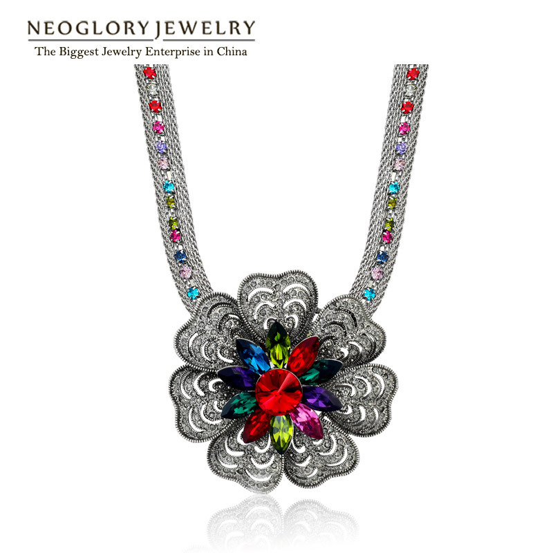 Neoglory Colorful Crystal Rhinestone Flower Bohemian Statement Chain Necklaces For Women 2018 New Brand Elegant Fashion Jewelry
