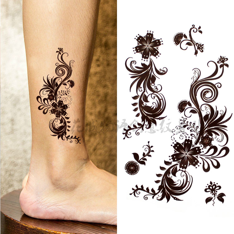 Beautiful Henna Brown Big Flower Body Art Waterproof Sexy Fake Tattoo For Woman Flash TemporaryTattoo Stickers 10*20CM KD666-2