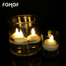 Home Decoration Parties Religious Votive Water Floating Candle &Waterproof Plastic Mini Led Tea Light Candle 12pcs/box