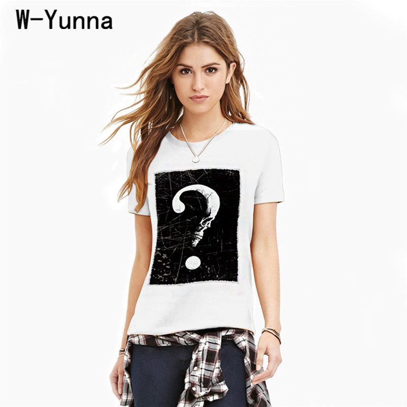 W-Yunna Summer Tops For Women 2018 Question Mark Digital Printing Short-Sleeved Tshirts Quick Dry Round Neck T-shirt Women