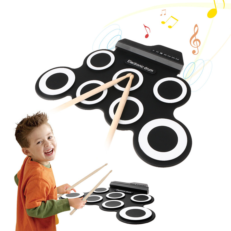 Hizek 7 Portable Foldable Practice Instrument Electronic Roll up Drum Pad Kits with 2 Foot Pedals and Drum Sticks for Beginner 9 pad silicon roll up electronic drum with drum sticks and usb cable for midi game percussion instrumenst drum lover