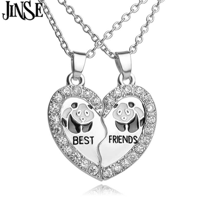 JINSE BLS164 BEST FRIENDS BBF 2 part Broken Heart Pendant animal panda Anchors crystal pendant Chain Necklace friendship Gift