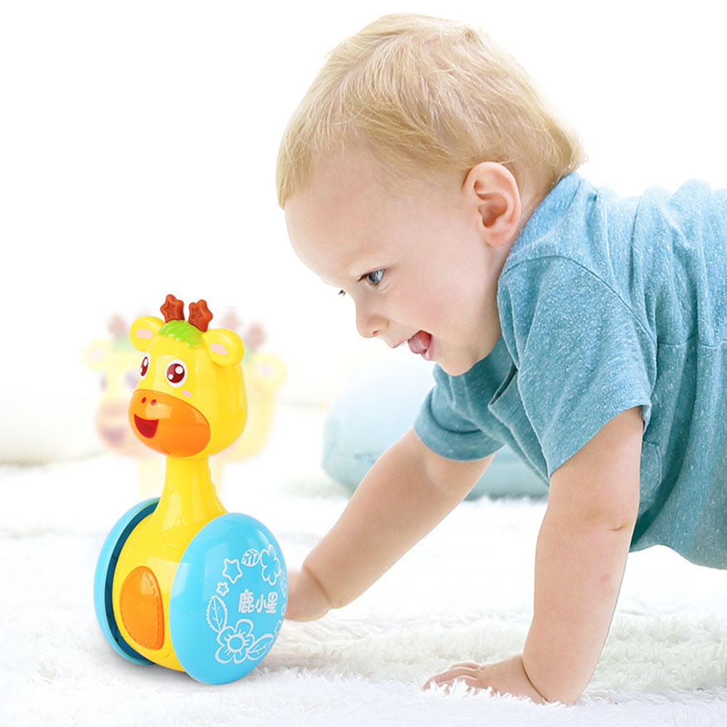 Baby Rattles Tumbler Doll Baby Toys Sweet Bell Music Roly-poly Early Education Projection Giraffe Tumbler Toy With Color Light