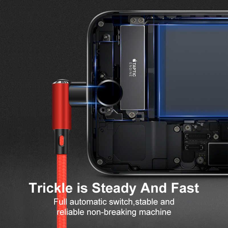 Coolreall 90 度 USB ケーブル iphone XS 最大 XR × 8 7 6 6S プラス 5 5s SE ipad mini usb 高速充電携帯電話のデータケーブル