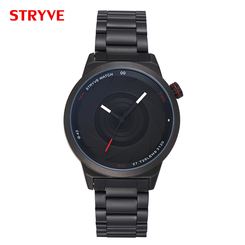Top Fashion Designer Stryve Photographer Series Classic Black Luxury Stainless Steel Men Quartz Watches erkek kol saati 6001Top Fashion Designer Stryve Photographer Series Classic Black Luxury Stainless Steel Men Quartz Watches erkek kol saati 6001