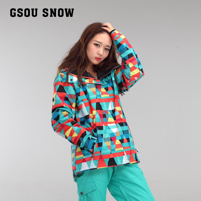 GSOU SNOW New winter ski jacket women jacket womens ski suits warm waterproof snow skiing clothes veste ski femme free shipping the new 2017 gsou snow ski suit man windproof and waterproof breathable double plate warm winter ski clothes