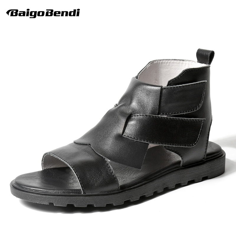 Vintage Mens Genuine Leather Roman Style Open Toe Gladiator Sandals Man Hollow Hook Loop High Top Summer Casual Sandals