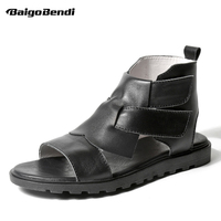 Vintage Men's Genuine Leather Roman Style Open Toe Gladiator Sandals Man Hollow Hook Loop High Top Summer Casual Sandals