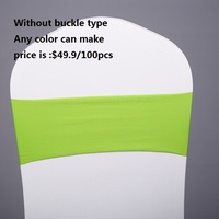 100PCS Chair Sash Bands Spandex Stretch Lycra Chair Cover Sashes Bows with Plastic Ring for Weddings