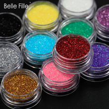 Belle Fille Nail Glitter 12 färger Laser Bling Magic Effect Nail Glitter Silver och Gold Power Fluorescerande Nail Art Powder 1g