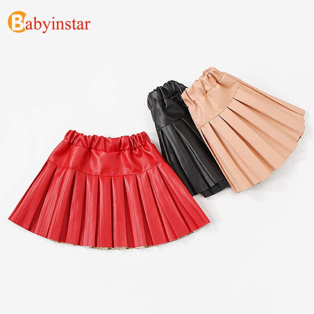 Babyinstar Girls Pleated Skirt 2018 New Children's Elastic Waisted Clothes Kids PU Leather Solid Skirts Toddler Girls Clothing navy cute high waisted leather mini skirt