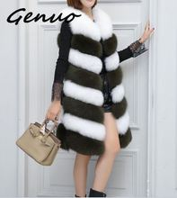 Genuo 2019 New women fashion casual stitching fur vest female fox Slim color matching imitation warm trend