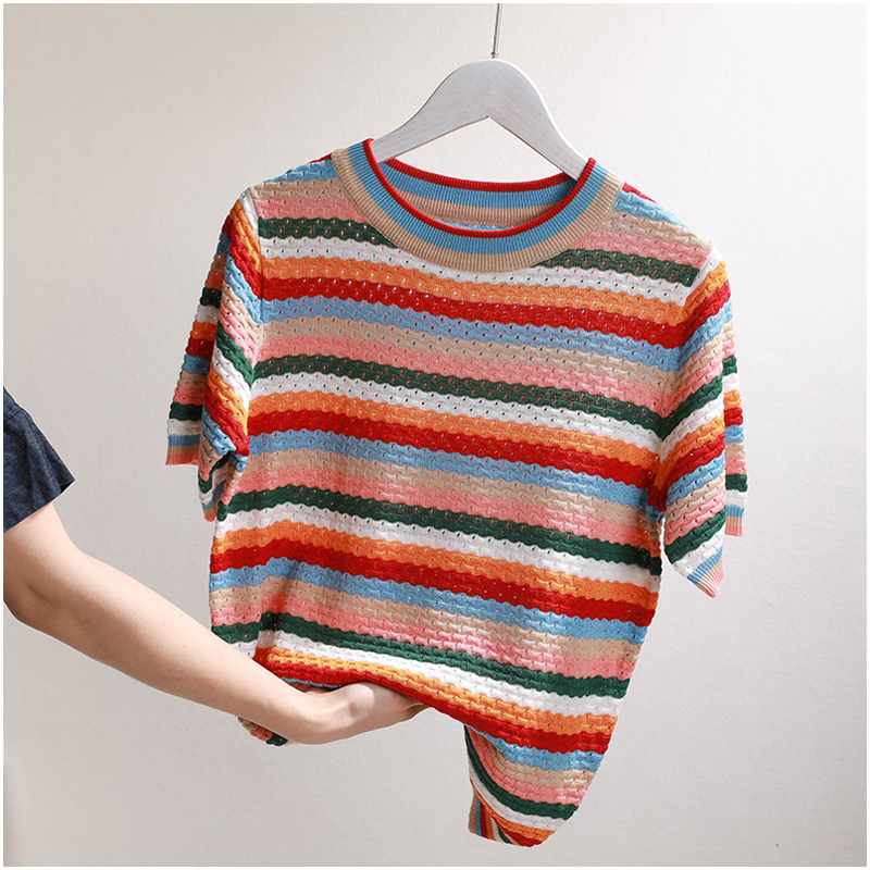loose Knitted Women T Shirt Summer T shirt Short Sleeves Top High quality colorful Striped Female T-Shirt hollow out casual top