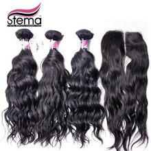 Stema Hair Indian virgin hair Natural Wave 3 bundles with closure 1pc Free/Middle Part human hair with closure full and thick