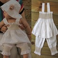 Hot sales 3 pcs Kids Top+Pants+Hat Set 3 Pieces Outfit Costume Ruffled Clothes 0-3Y
