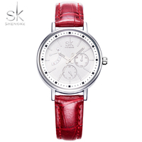 SK Brand Fashion Women Leather Wristwatches Ladies Casual Analog Silver Case Quartz Watch 4 Colour Relogio
