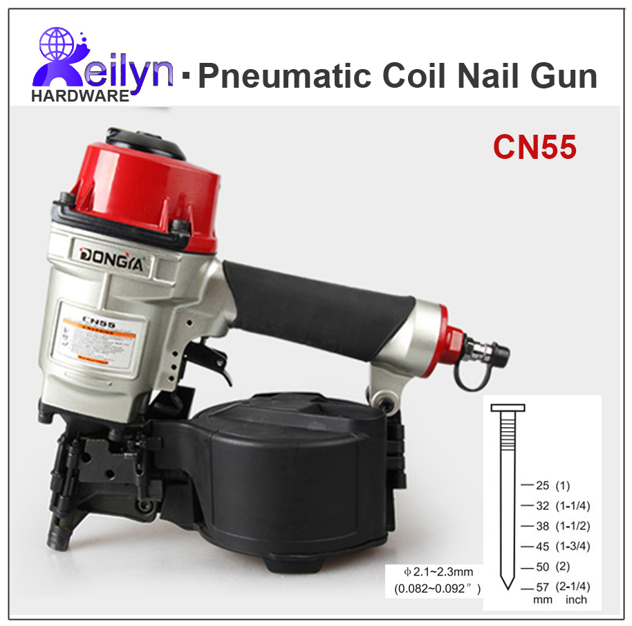 CN55 Pneumatic Nail Gun Air Coil Nailer Air nailer for fencing framing roof sheathing pallets decorate board production high quality cn55 industrial pneumatic coil nailer roofing air nail gun tool