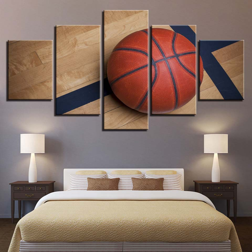 Frame Wall Art Home Decoration Painting Poster 5 Panel Sports Basketball For Living Room Modern HD Printed Canvas Pictures
