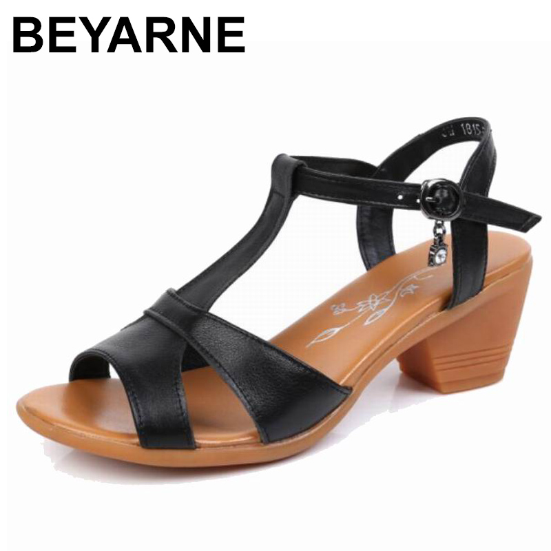 BEYARNE2019 New Genuine Leather High Heels Gladiator Sandals Women Summer Open Toe Ladies Shoes Plus Size 34-43 E292BEYARNE2019 New Genuine Leather High Heels Gladiator Sandals Women Summer Open Toe Ladies Shoes Plus Size 34-43 E292