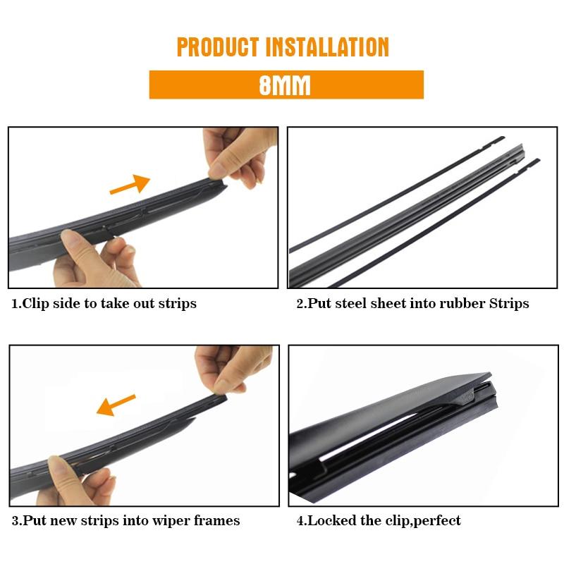 "1PCS Windshield Windscreen 8MM 6MM 14""16""17""18""19""20""21""22""24""26""28"" Car Wiper Blade Replacement Insert Refill Rubber Strip 6"