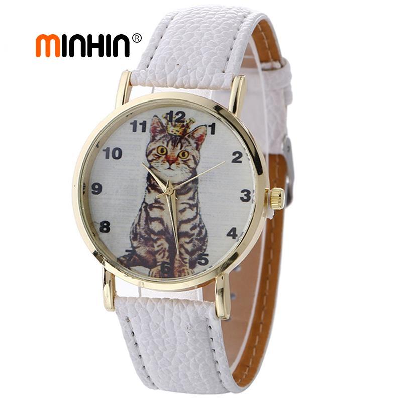 MINHIN Fashion Girl's Watch Student Leather Quartz Watches Cat Pattern Bracelet Watches For Women Wholesale Creative Watch