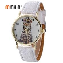 MINHIN Fashion Girl's Watch Student Leather Quartz