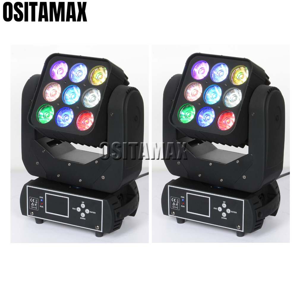 2/lot Rgbw 4in1 Matrix 9pcs 12w Beam Stage Moving Head Light 3x3 Leds Dmx 13/48 Chs Professional Sound Disco Party Light Comfortable Feel Commercial Lighting Stage Lighting Effect