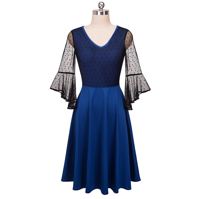Nice-forever Sexy Women See Through Lace Trumpet Sleeve vestidos Vintage A-Line Party Dress btyA050
