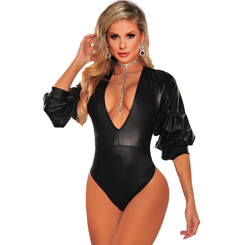 V Neck Puff Sleeves Plus Size Bodysuit Faux Leather Womens Rompers Long Sleeve Bodys Mujer Sexy Clubwear Gothic Bodysuit R80605
