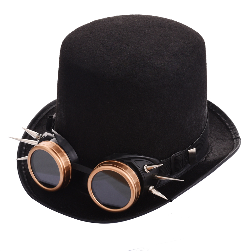 f95335bfbd9d0 Gothic Unisex Steampunk Top Hat With Rivet Goggles Halloween Cosplay Fedora  Goggle Hat Retro Vintage Accessories