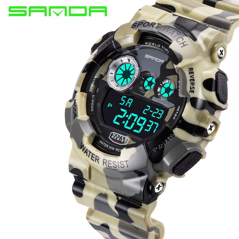 Heren luxe gesimuleerde quartz digitaal horloge Heren LED Militair waterdicht horloge 2018 Nieuw merk SANDA Fashion horloge