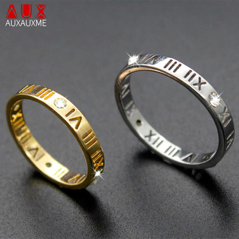 Auxauxme Stainless Steel Hollow Roman Numerals Rings Gold Simple CZ Stone Wedding Bands Finger Ring Couple Jewelry Gift