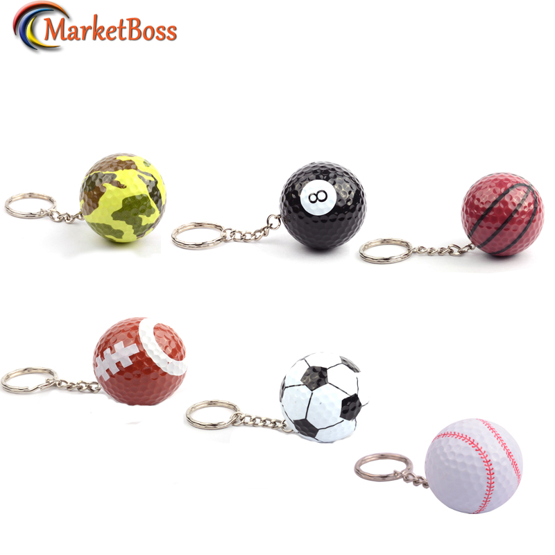 Hot Sale Mini Ball Keychains Football Basketball Golf Ball Pendant Keyring Stylish Gift For Friends Family