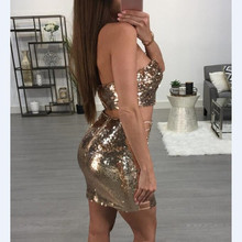 Sexy Women Gold Silver Sequins Lace Up Two Piece Dress Back Zipper