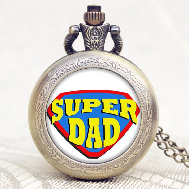 Old Retro Bronze Super Dad Words Design Pocket Watch With Chain Necklace Best Gift To Dad/Grandpa Father/Grandfather