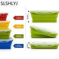 SLSHLYJ Duolvqi Silikon Lunch Box Tragbare Schüssel Bunte Folding Lebensmittel Container Lunchbox 350/500/800/1200ml umweltfreundliche