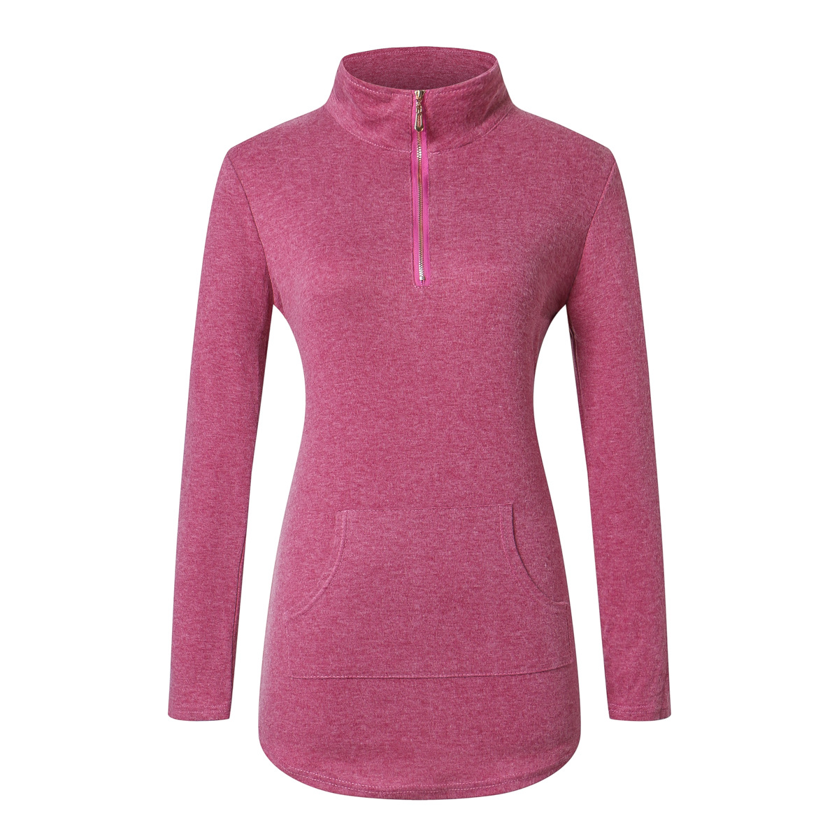 948ba15a Wanita T-shirt Lengan Panjang Wineter Tops Berdiri Collar Zipper Slim  Pinggang Kantong Padat New Fashion Gaya Eropa Pakaian Mendapat Penjualan