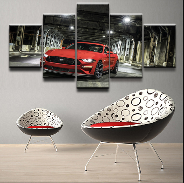 5 Pieces Ford Mustang Car Pictures Modern Wall Art Paintings Framework For  Living Room Home Decor